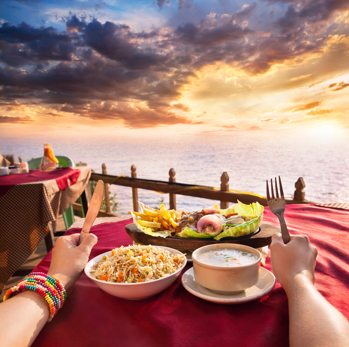 Exotic veg restaurant with ocean view
